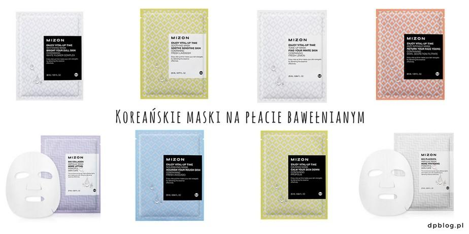 recenzja koreańskich maseczek mizon na płacie bawełnianym