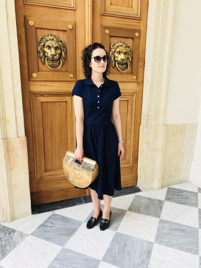 women's navy blue polo dress