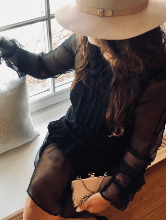 czarna, jedwabna sukienka Laura Guidi
