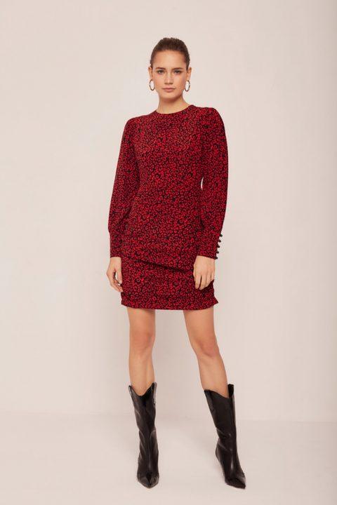 wzorzysta, czerwona sukienka mini z długim rękawem Madelle Varsovie