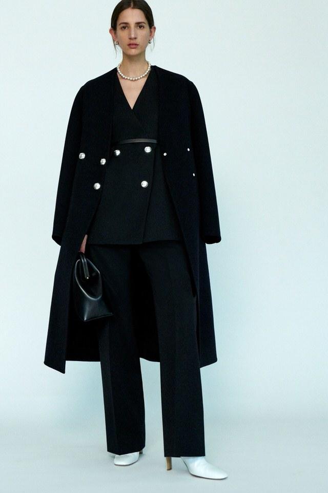 wełniany płaszcz czarny damski