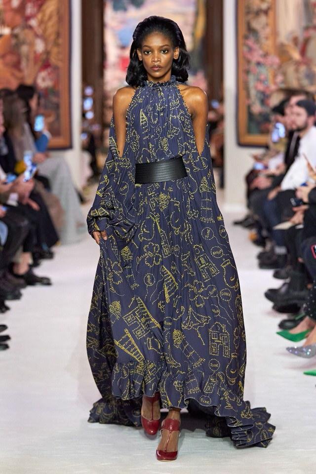 zwiewna sukienka niebiesko-złota